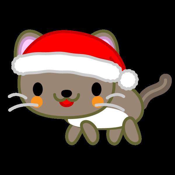 ソフトタッチでかわいい猫(クリスマスVer)の無料イラスト・商用フリー