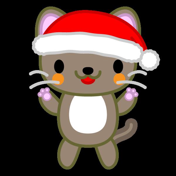 ソフトタッチでかわいい立っている猫(クリスマスVer)の無料イラスト・商用フリー