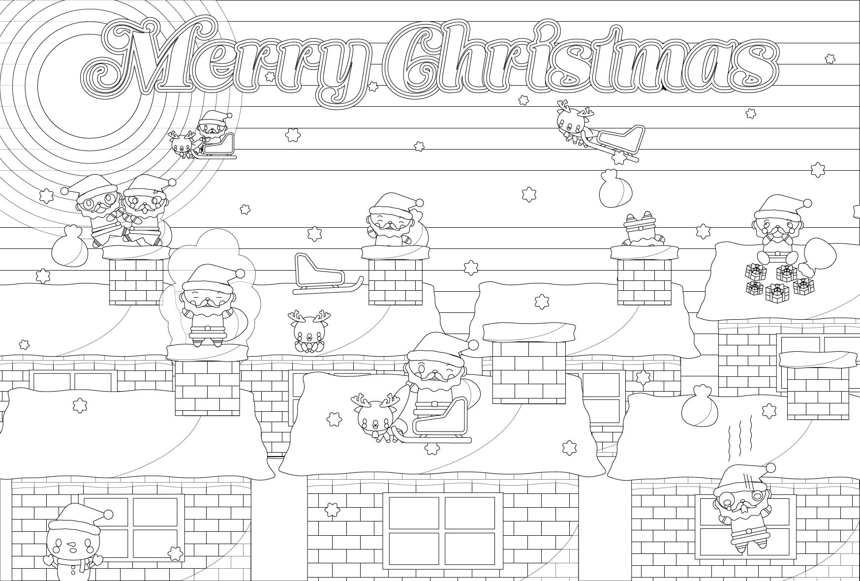 塗り絵に最適な白黒でかわいいクリスマスカード・無料イラスト・商用フリー