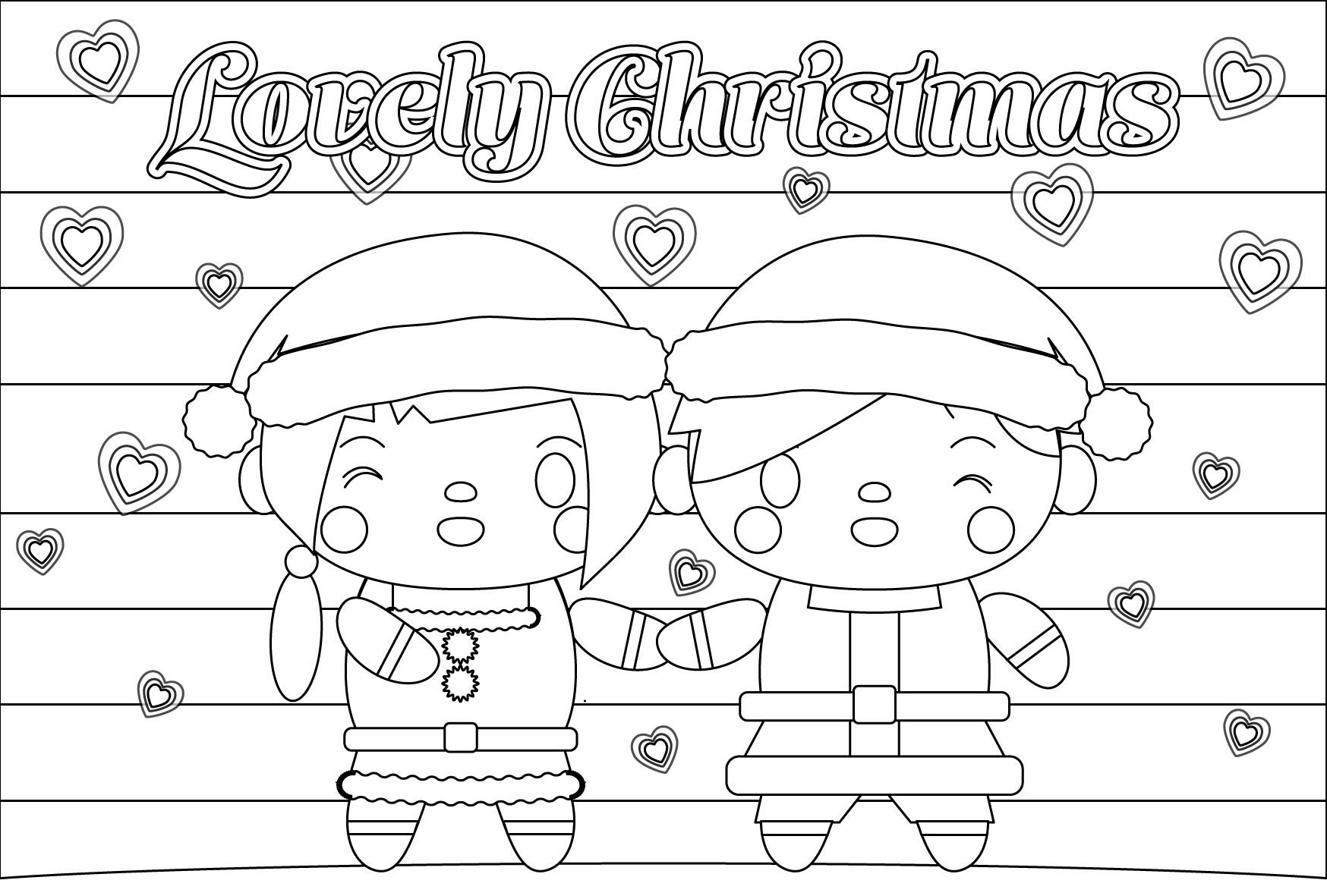 塗り絵に最適な白黒でかわいいラブリークリスマスカード・無料イラスト・商用フリー