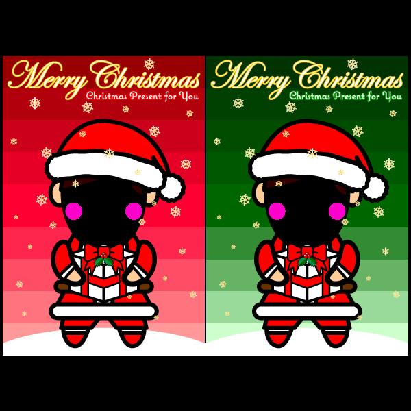 かわいいサンタ男子のコスプレ合成クリスマスカード・無料イラスト・商用フリー