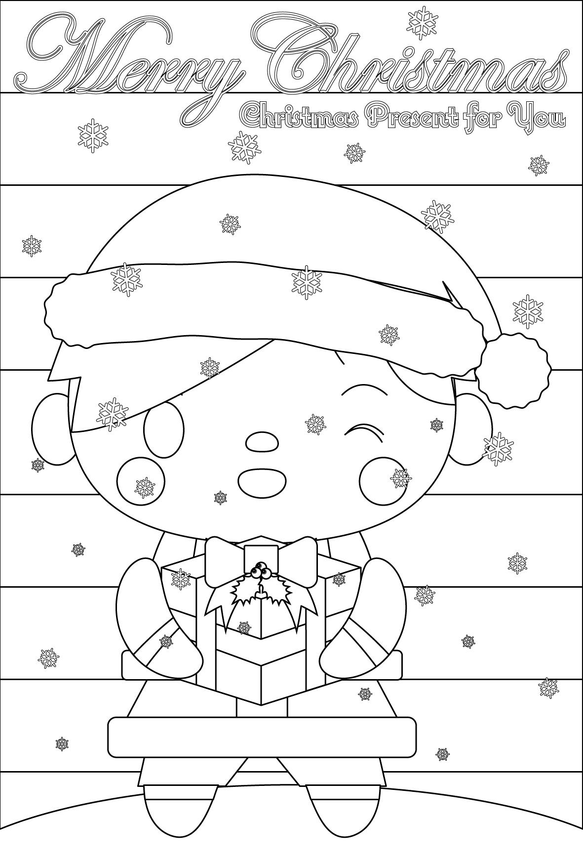 塗り絵に最適な白黒でかわいいサンタ男子のクリスマスカード・無料イラスト・商用フリー