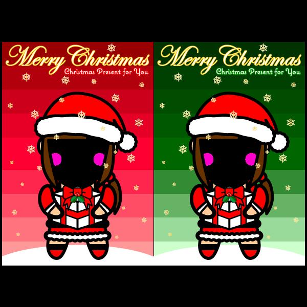 かわいいサンタ女子のコスプレ合成クリスマスカード・無料イラスト・商用フリー