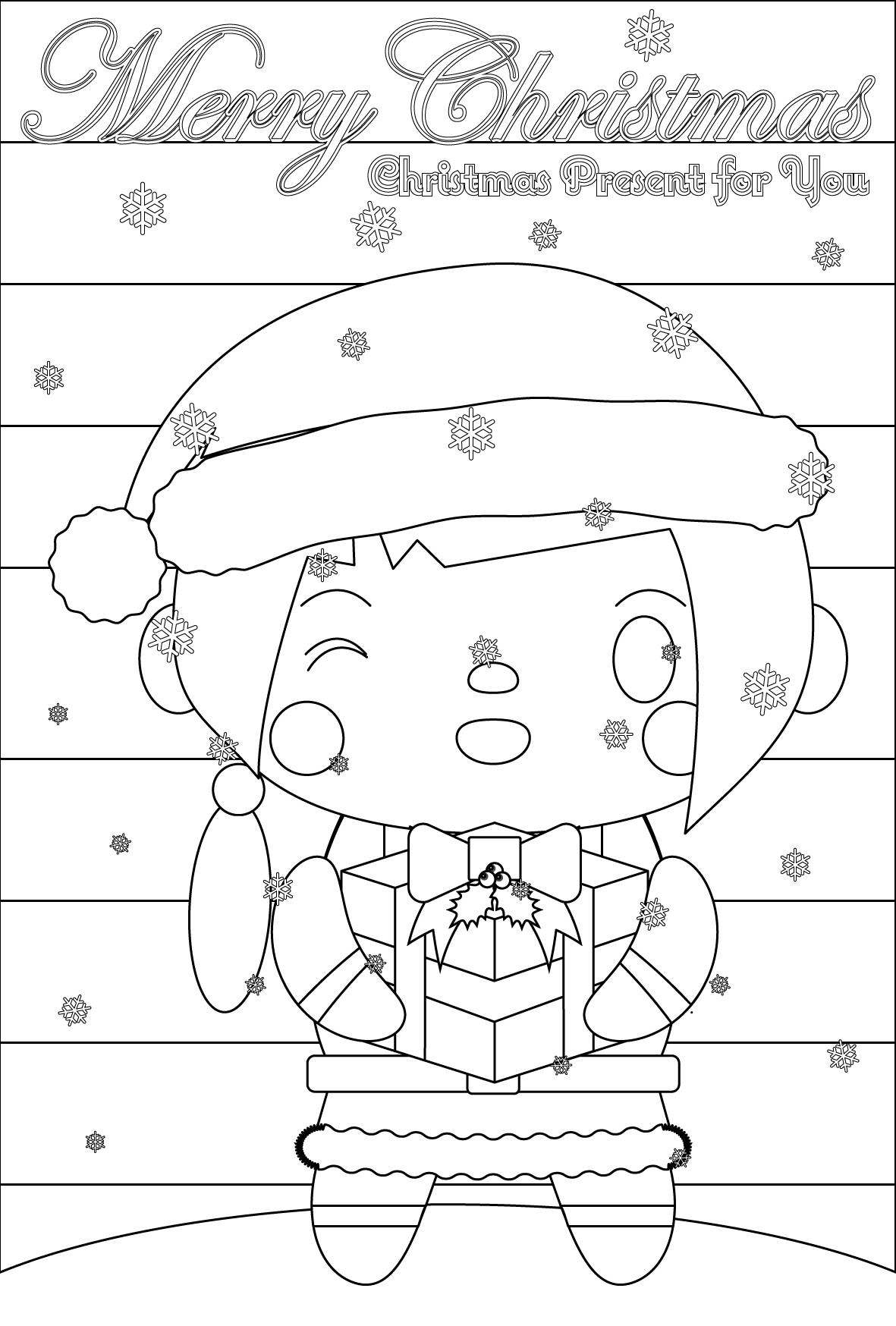 塗り絵に最適な白黒でかわいいサンタ女子のクリスマスカード・無料イラスト・商用フリー