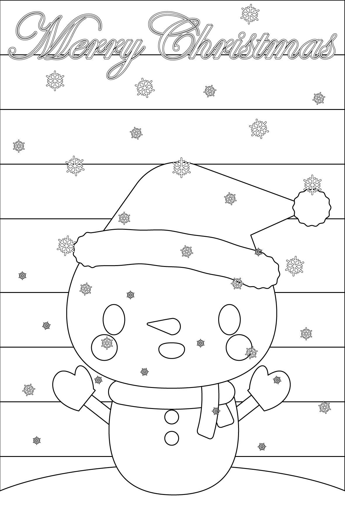 塗り絵に最適な白黒でかわいいスノーマン(雪だるま)のクリスマスカード・無料イラスト・商用フリー