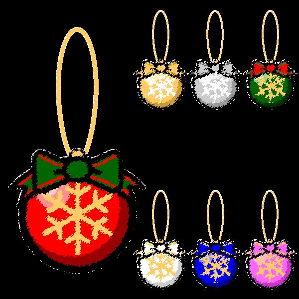 手書き風でかわいいクリスマスオーナメント(飾り)ボール3の無料イラスト・商用フリー