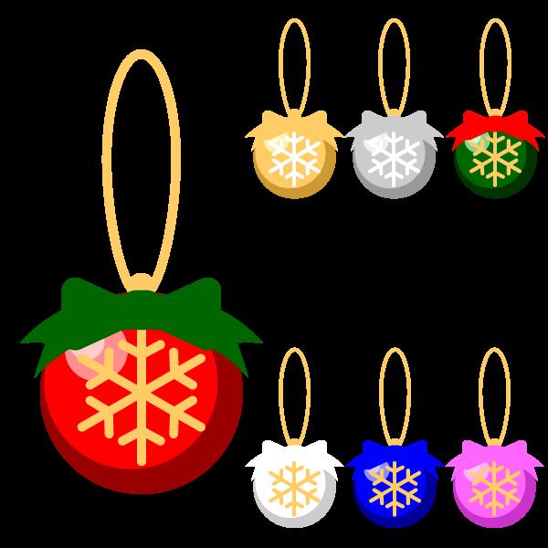 縁無しでかわいいクリスマスオーナメント(飾り)ボール3の無料イラスト・商用フリー