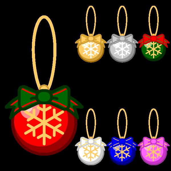 ソフトタッチでかわいいクリスマスオーナメント(飾り)ボール3の無料イラスト・商用フリー
