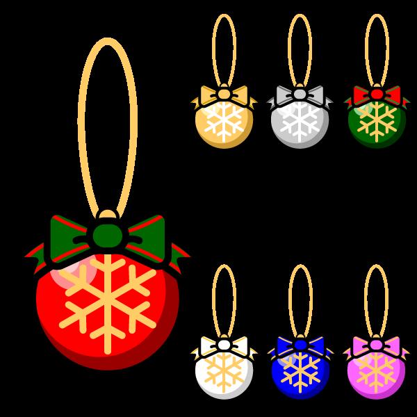 かわいいクリスマスオーナメント(飾り)ボール3の無料イラスト・商用フリー