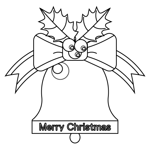 塗り絵に最適な白黒でかわいいクリスマスベルの無料イラスト・商用フリー