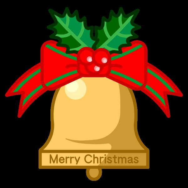ソフトタッチでかわいいクリスマスベルの無料イラスト・商用フリー