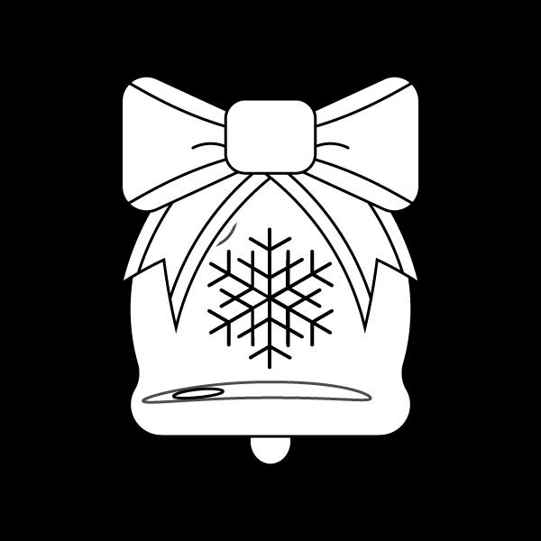 塗り絵に最適な白黒でかわいいクリスマスベル2の無料イラスト・商用フリー