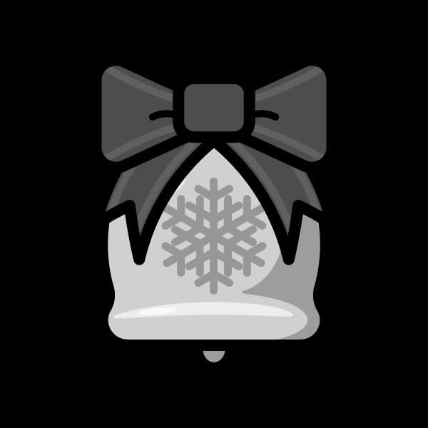 モノクロでかわいいクリスマスベル2の無料イラスト・商用フリー