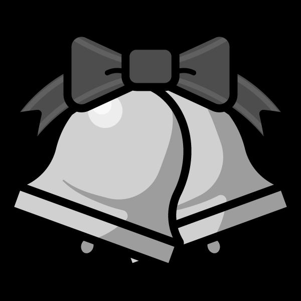 モノクロでかわいいクリスマスベル3の無料イラスト・商用フリー