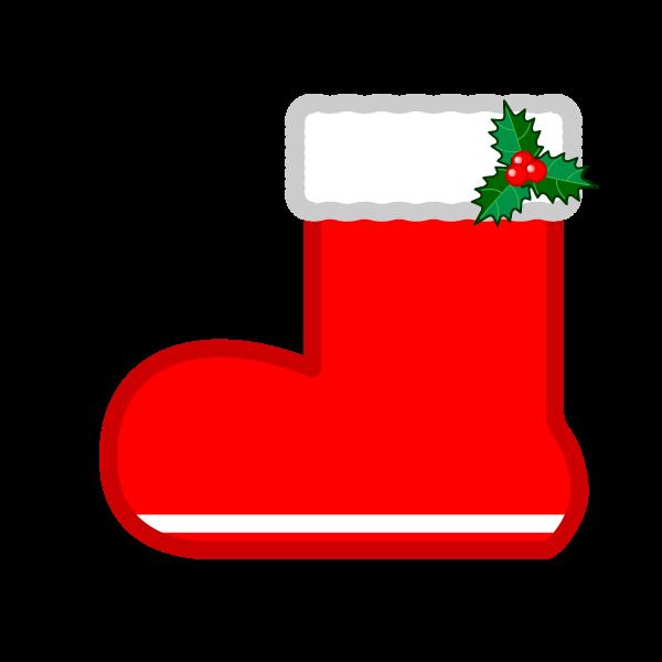 ソフトタッチでかわいいクリスマスプレゼントブーツ(長靴)の無料イラスト・商用フリー