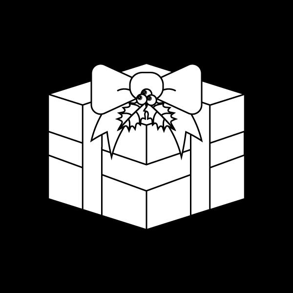 塗り絵に最適な白黒でかわいいクリスマスプレゼントボックスの無料イラスト・商用フリー