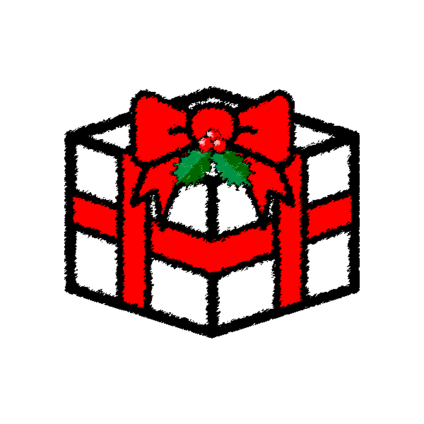 手書き風でかわいいクリスマスプレゼントボックスの無料イラスト・商用フリー