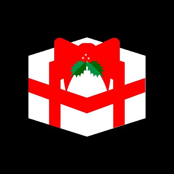 縁無しでかわいいクリスマスプレゼントボックスの無料イラスト・商用フリー