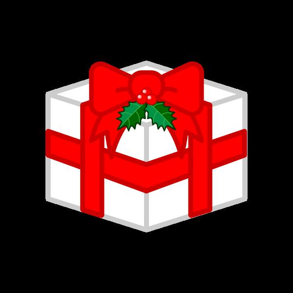 ソフトタッチでかわいいクリスマスプレゼントボックスの無料イラスト・商用フリー