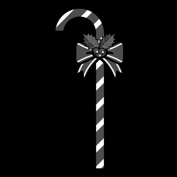 モノクロでかわいいクリスマスステッキの無料イラスト・商用フリー
