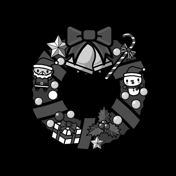 モノクロでかわいいクリスマスリースの無料イラスト・商用フリー
