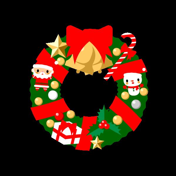 縁無しでかわいいクリスマスリースの無料イラスト・商用フリー