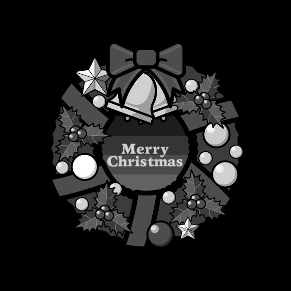 モノクロでかわいいクリスマスリース2の無料イラスト・商用フリー