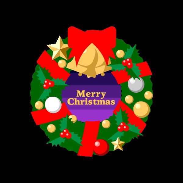 縁無しでかわいいクリスマスリース2の無料イラスト・商用フリー
