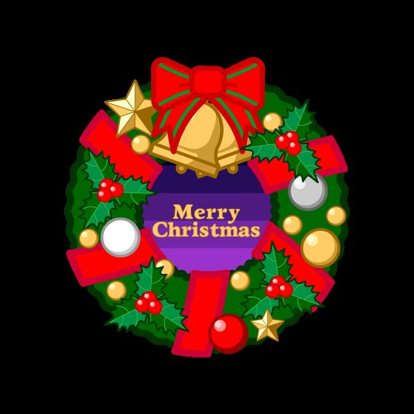 ソフトタッチでかわいいクリスマスリース2の無料イラスト・商用フリー