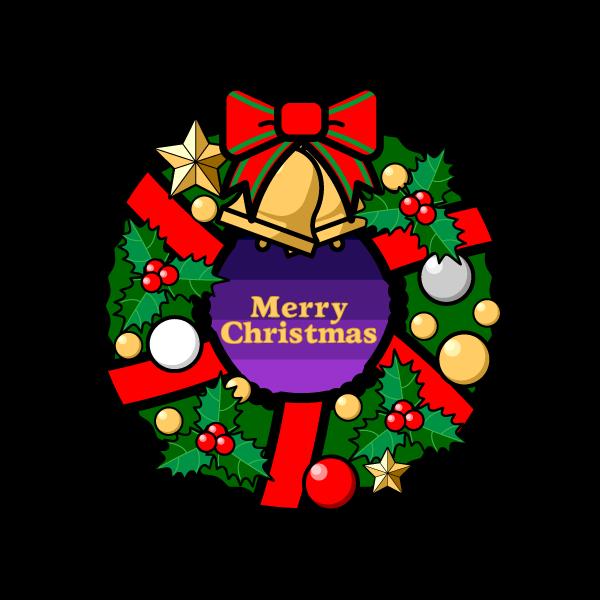 かわいいクリスマスリース2の無料イラスト・商用フリー