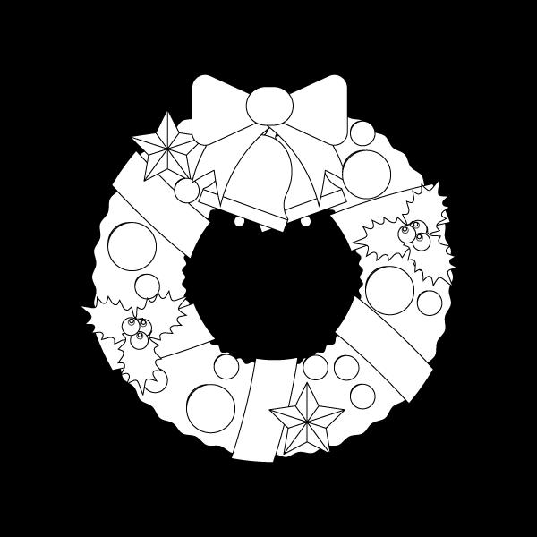 塗り絵に最適な白黒でかわいいクリスマスリース3の無料イラスト・商用フリー