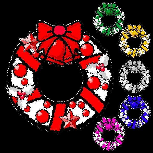 手書き風でかわいいクリスマスリース3の無料イラスト・商用フリー