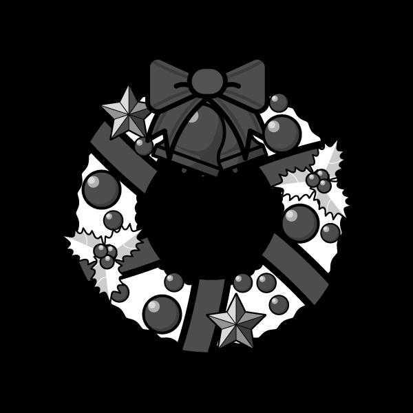 モノクロでかわいいクリスマスリース3の無料イラスト・商用フリー