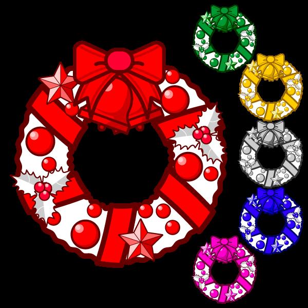 ソフトタッチでかわいいクリスマスリース3の無料イラスト・商用フリー