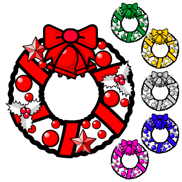 かわいいクリスマスリース3の無料イラスト・商用フリー