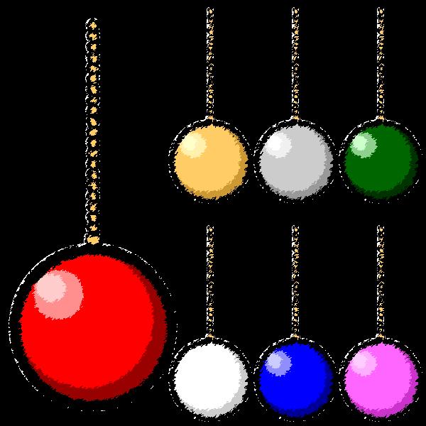 手書き風でかわいいクリスマスオーナメント(飾り)ボールの無料イラスト・商用フリー