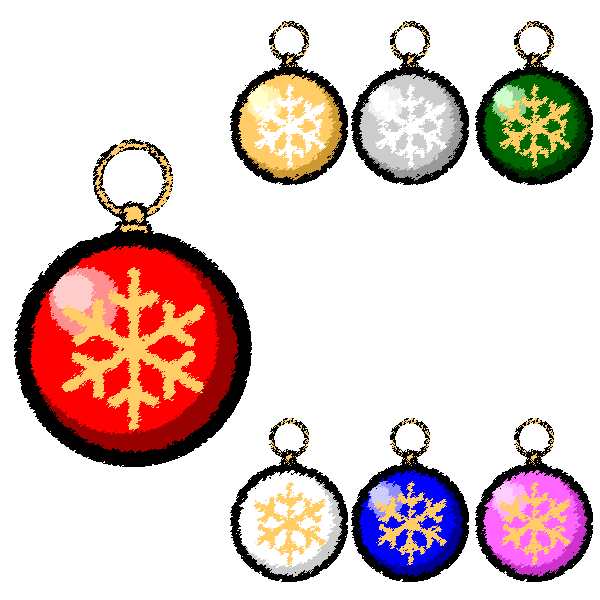 手書き風でかわいいクリスマスオーナメント(飾り)ボール2の無料イラスト・商用フリー