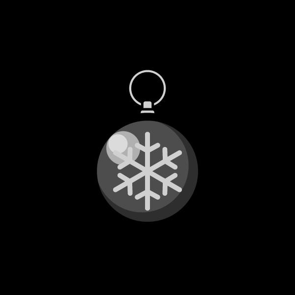 モノクロでかわいいクリスマスオーナメント(飾り)ボール2の無料イラスト・商用フリー
