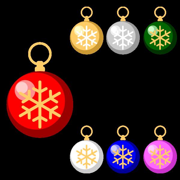縁無しでかわいいクリスマスオーナメント(飾り)ボール2の無料イラスト・商用フリー