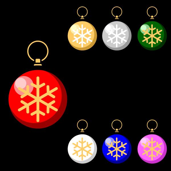 かわいいクリスマスオーナメント(飾り)ボール2の無料イラスト・商用フリー