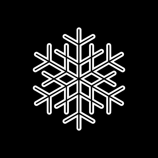 塗り絵に最適な白黒でかわいいクリスマスオーナメント(飾り)雪の結晶の無料イラスト・商用フリー