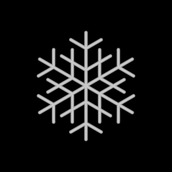 モノクロでかわいいクリスマスオーナメント(飾り)雪の結晶の無料イラスト・商用フリー