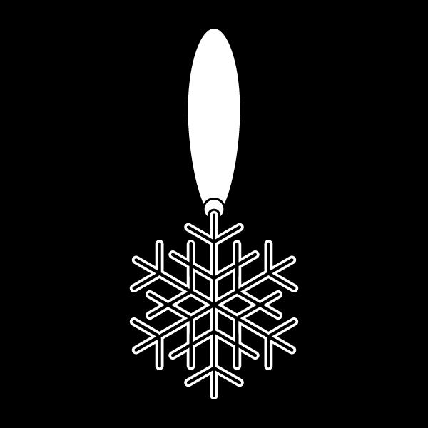 塗り絵に最適な白黒でかわいいクリスマスオーナメント(飾り)雪の結晶2の無料イラスト・商用フリー