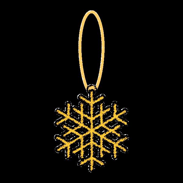手書き風でかわいいクリスマスオーナメント(飾り)雪の結晶2の無料イラスト・商用フリー