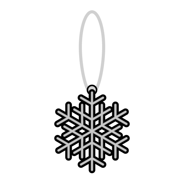 モノクロでかわいいクリスマスオーナメント(飾り)雪の結晶2の無料イラスト・商用フリー