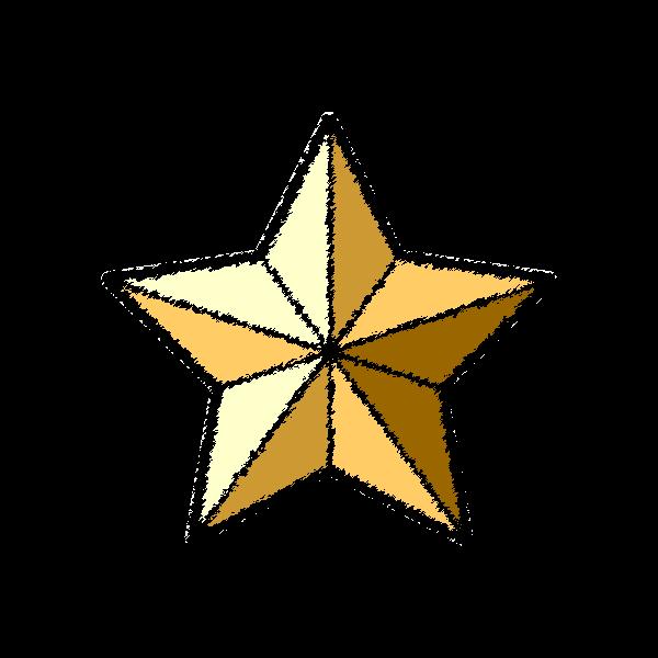 手書き風でかわいいクリスマスオーナメント(飾り)星の無料イラスト・商用フリー