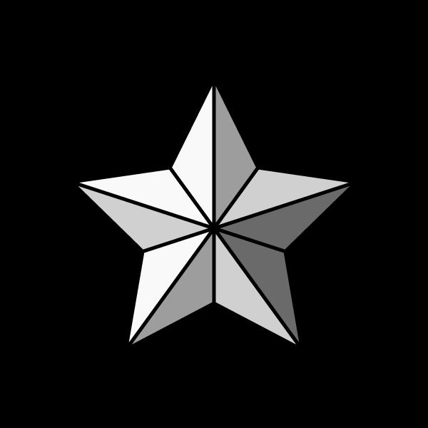 モノクロでかわいいクリスマスオーナメント(飾り)星の無料イラスト・商用フリー