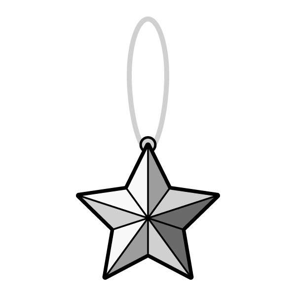モノクロでかわいいクリスマスオーナメント(飾り)星2の無料イラスト・商用フリー