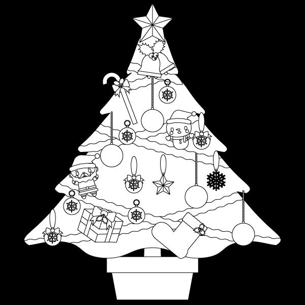 塗り絵に最適な白黒でかわいいクリスマスツリーの無料イラスト・商用フリー