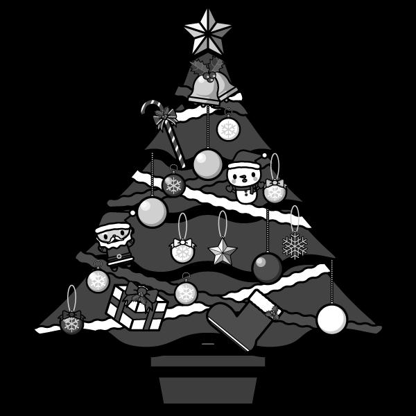 モノクロでかわいいクリスマスツリーの無料イラスト・商用フリー